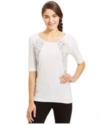 Calvin Klein Jeans - White Elbow-Sleeve Top - Lyst