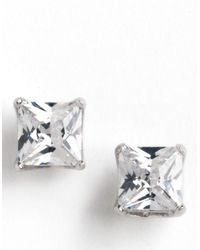 Lord & Taylor | Metallic Platinum-plated Princess-cut Stud Earrings | Lyst