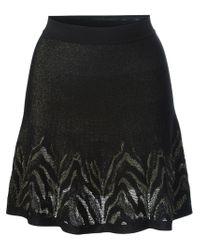 Roberto Cavalli - Black Tiger Print Knitted Skirt - Lyst
