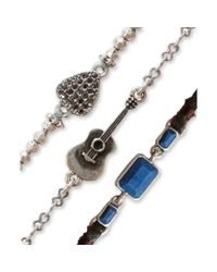 Lucky Brand | Silvertone Guitar Charm and Blue Stone Bracelet Trio | Lyst