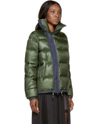 Sacai Luck - Green And Navy Down Stand Collar Jacket - Lyst