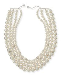 Majorica - Natural Four-strand Manmade Pearl & Crystal Necklace - Lyst