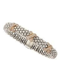 Lagos | Metallic 18k Rose Gold Diamond X Bracelet | Lyst