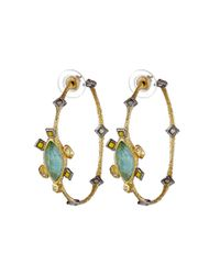 Alexis Bittar | Metallic Mosaic Hoop W/ Custom Cut Amazonite Doublet & Canary Crystal Accent Earrings | Lyst
