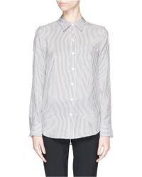 Theory | Black 'Simara Nb' Candy Stripe Silk Shirt | Lyst