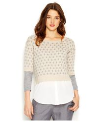 Kensie | Natural Three-Quarter-Sleeve Layered-Look Knit Top | Lyst
