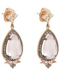 Sara Weinstock - White Diamond & Rose Quartz Drop Earrings - Lyst