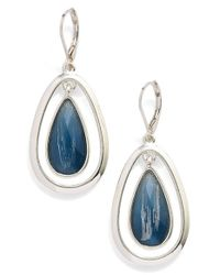 Anne Klein | Blue Oscillating Teardrop Earrings | Lyst