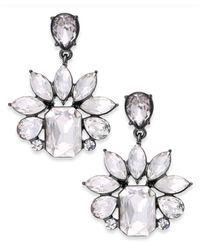 ABS By Allen Schwartz | Metallic Silver-tone Crystal Cluster Drama Drop Earrings | Lyst