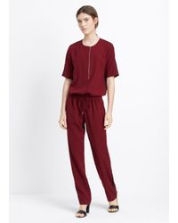 VINCE | Purple Contrast Trim Short Sleeve Jumpsuit | Lyst