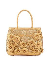 Nancy Gonzalez - Brown Panama Floral-Cutout Straw Basket Tote Bag - Lyst