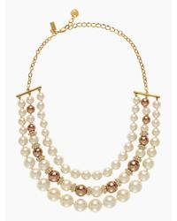 kate spade new york - Natural Parlour Pearls Triple Strand Necklace - Lyst