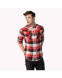 Tommy Hilfiger | Red Cotton Check Shirt for Men | Lyst