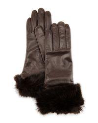 Grandoe - Furcuffed Leather Gloves Brownblack - Lyst