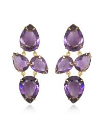 Bounkit | Metallic Faceted Amethyst Earrings | Lyst