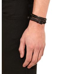 Valentino | Black Leather Wraparound Bracelet for Men | Lyst