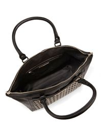 Kensie | Black Floral-trimmed Faux Leather Tote | Lyst