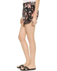 Rebecca Taylor - Pink Splashy Flower Shorts - Woodrose - Lyst