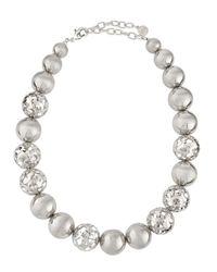 R.j. Graziano | Metallic Silvertone Ball Choker Necklace | Lyst