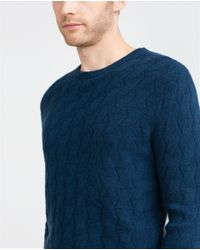 Zara | Blue Braided Cashmere Sweater for Men | Lyst