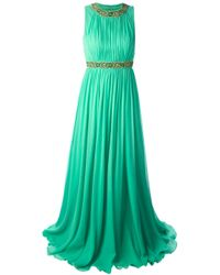 Jenny Packham - Green Draped Embellished Gown - Lyst