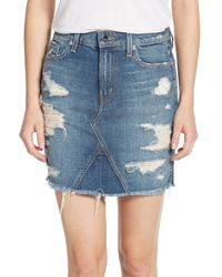 Genetic Denim - Blue Gordon Distressed Denim Mini Skirt - Lyst