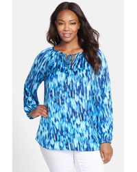 Ellen Tracy | Blue Print Tie Neck Peasant Top | Lyst
