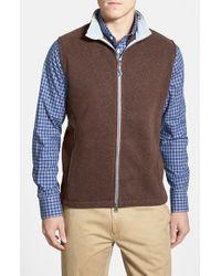 Peter Millar | Brown 'melbourne' Contrast Collar Fleece Vest for Men | Lyst