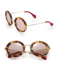 Miu Miu | Brown 49mm Round Sunglasses | Lyst