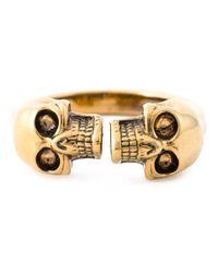 Alexander McQueen | Metallic Twin Skull Ring for Men | Lyst