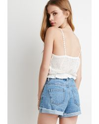 Forever 21 | Natural Crocheted Cami Crop Top | Lyst