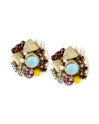 Betsey Johnson - Metallic Goldtone Bow and Crystal Cluster Round Stud Earrings - Lyst