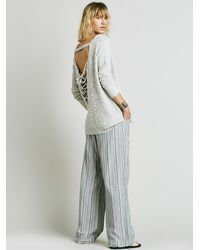 Free People - White Womens Back Interest Lace Up Pullover - Lyst