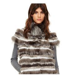 Tory Burch | Gray Short Sleeve Fur Jacket | Lyst