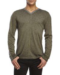 DKNY - Green V-Neck Slub Knit Long Sleeve Tee for Men - Lyst