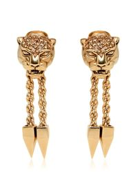 Roberto Cavalli | Metallic Panther Earrings With Swarovski Crystals | Lyst