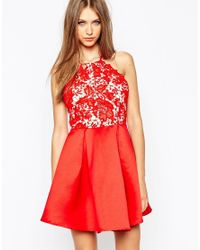 Missguided - Red Lace Halter Neck Skater Dress - Lyst
