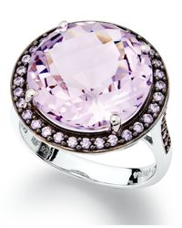 Macy's | Metallic Sterling Silver Ring, Natural Pink Amethyst (7-1/5 Ct. T.w.) And Purple Swarovski Zirconia (5/8 Ct. T.w.) Ring | Lyst