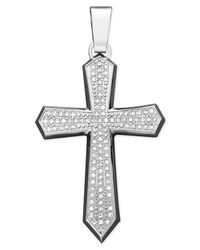 Macy's | Metallic Men's Diamond Cross Pendant Necklace In Stainless Steel (1 Ct. T.w.) | Lyst