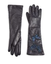 Valentino - Blue Butterfly Embroidered Leather Gloves - Lyst