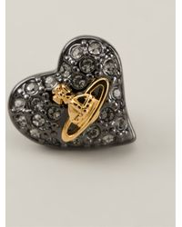 Vivienne Westwood Anglomania | Black Crystal Embellished Heart Stud Earrings | Lyst