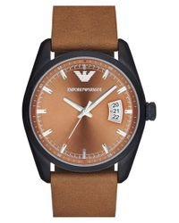 Emporio Armani | Brown Leather Strap Watch for Men | Lyst