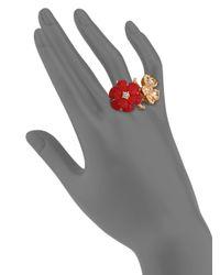 Alexander McQueen | Red Mixed Flower Ring | Lyst