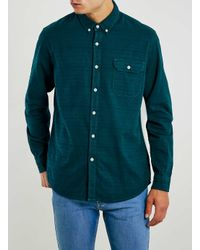 TOPMAN - Green Pine Overdyed Jacquard Long Sleeve Casual Shirt for Men - Lyst