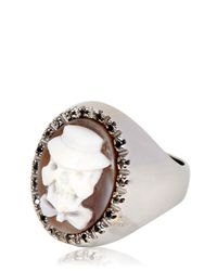 Amedeo | Black Memento Mori Skull Cameo Ring for Men | Lyst