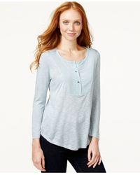 Calvin Klein Jeans | Gray Scoop-neck Top | Lyst