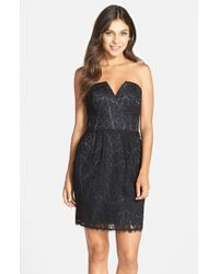 Adelyn Rae | Black Strapless Lace Sheath Dress | Lyst