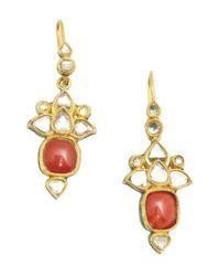 Amrapali - Pink Coral And Diamond 'Jarokha' Earrings - Lyst