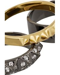 Noir Jewelry - Metallic Set Of Three Gunmetal-Plated And Gold-Plated Rings - Lyst