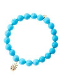Sydney Evan - Blue 8mm Turquoise Beaded Bracelet With 14k Gold/diamond Medium Ladybug Charm (made To Order) - Lyst